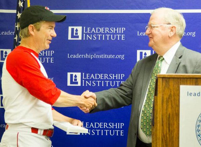 Paul delivered a speech to The Leadership Institute in May while wearing his baseball uniform. Paul had Congressional Baseball Game for Charity practice earlier that morning. (Photo: Leadership Institute Twitter, @LeadershipInst)