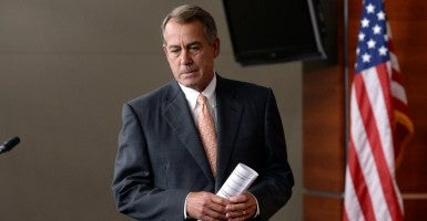 US Speaker of the House and Republican from Ohio John Boehner walks to the podium to hold a news conference on Capitol Hill in Washington DC, USA, 08 May 2014. (Photo: Michael Reynolds/EPA/Newscom)