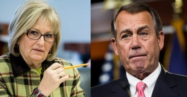 House Speaker John Boehner (pictured opposite Rep. Diane Black) differs with conservatives on how quickly to address the recent Planned Parenthood allegations. (Photo: Newscom/Bill Clark/CQ Roll Call)