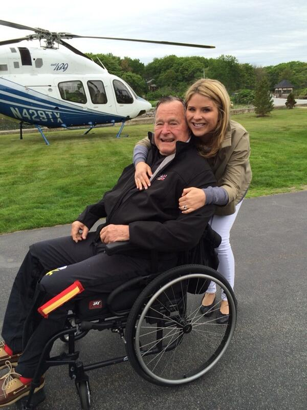 Jenna Bush Hager gives her grandfather a big hug before his 90th birthday jump. (Photo: ktro21 via Twitter)