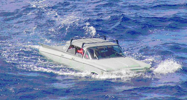 In February 2004, the same group tried again, and were again intercepted by the Coast Guard—this time in a 1959 Buick Sedan. (Photo: U.S. Coast Guard, Cuban Migrant Collection)