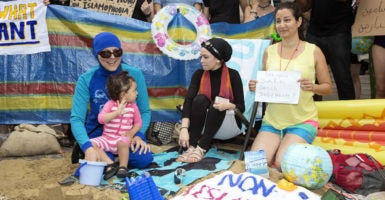Women stage a burkini protest on Aug. 25, 2016, outside the French Embassy in London. (Photo: SOLO/Zuma Press/Newscom)