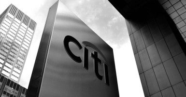 Citigroup logo at their offices in New York City. Citigroup will pay 7 billion dollars to settle an investigation into its sale of residential mortgage-backed securities prior to the financial crisis and global recession that started in 2008. (Photo: Justin Lane/EPA/Newscom)