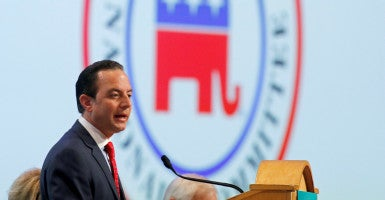 The Republican National Committee, including Chairman Reince Priebus, adopts a resolution backing criminal justice reform. (Photo: Joe Skipper/Reuters/Newscom)