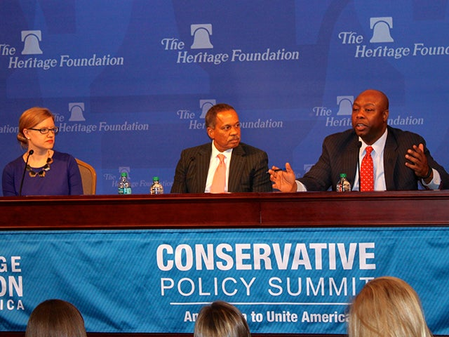 Lindsey Burke, Will Skillman Fellow in Education at The Heritage Foundation, Juan Williams, Political Analyst for FOX News, and Sen. Tim Scott (R-SC) discuss education reform at Heritage Action's Conservative Policy Summit. / K. Harris