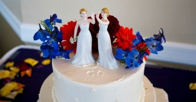 Figures of two women are seen on top of a wedding cake at a gay marriage in New York. (Photo: RICHARD B. LEVINE/Newscom)