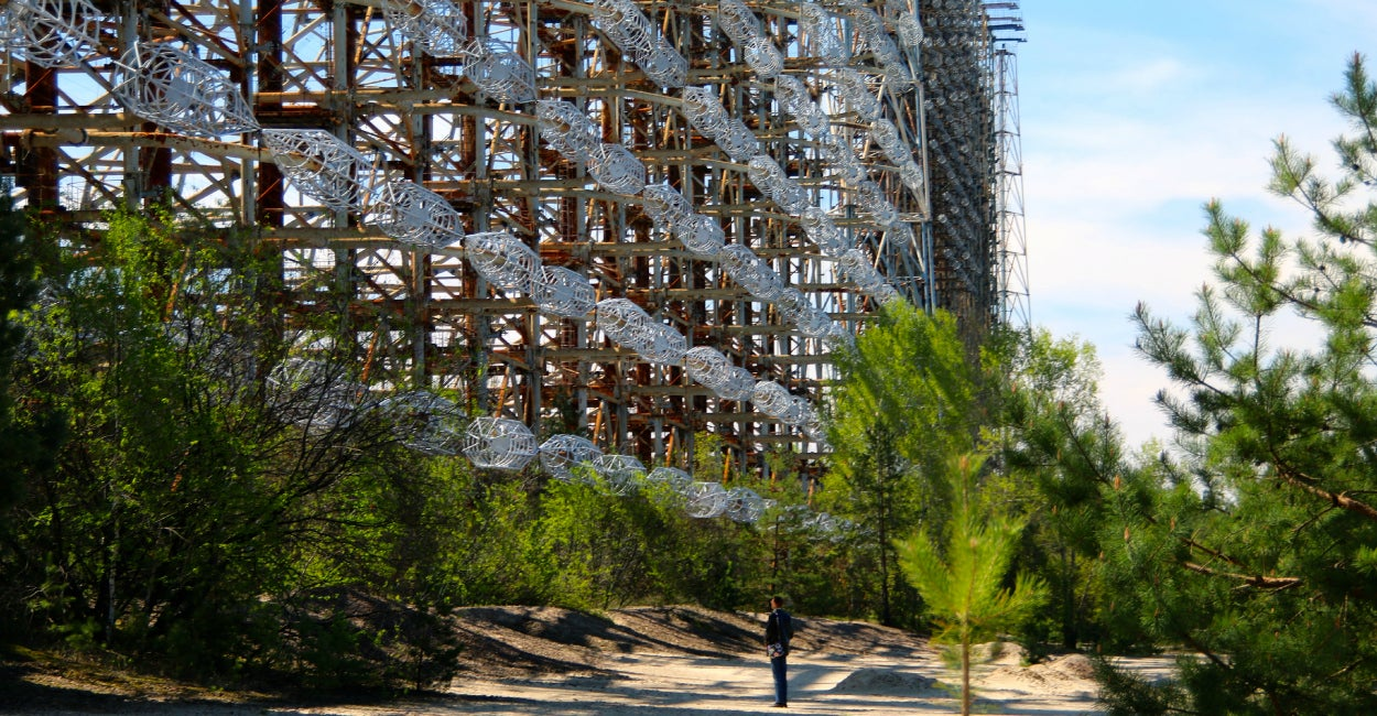 The abandoned Duga-3 ballistic missile defense radar facility within the Chernobyl exclusion zone (Photo: Nolan Peterson/The Daily Signal)