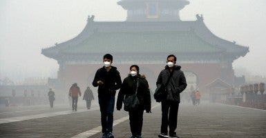 Smog in Beijing, China that is reported to have  spread to neighboring areas, affecting more than 300 million people. Dec. 9 (Photo: Kyodo/Newscom)
