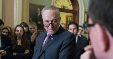 Senate Minority Leader Chuck Schumer voices his objections to Supreme Court nominee Neil Gorsuch to reporters on Capitol Hill, March 21, 2017. (Photo: Jeff Malet Photography/Newscom)