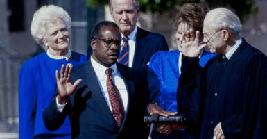 Justice Clarence Thomas was nominated by President George H.W. Bush in 1991 as the second African-American to sit on the U.S. Supreme Court. (Photo: Mark Reinstein/Zuma Press /Newscom)