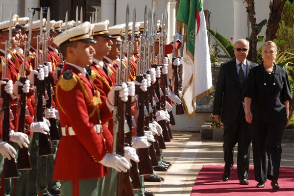 Secretary of State Hillary Clinton at the Mouradia Palace in Algiers. (Photo: New Press/SIPA)