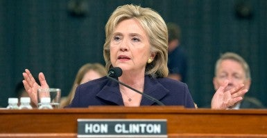 Former U.S. Secretary of State Hillary Rodham Clinton testfies before the U.S. House Select Committee on Benghazi on Capitol Hill in Washington, DC on Thursday, Oct. 22, 2015