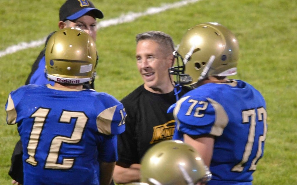 Joe Kennedy has been employed as a football coach by the Bremerton School District since 2008. After games, he usually kneels, offering a prayer that lasts for approximately 15-30 seconds. (Photo: Larry Steagall/Kitsap Sun/Liberty Institute)