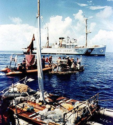 A Coast Guard craft guides a raft to a cruiser and rescue June 1980. (Photo: U.S. Coast Guard/CC By 2.0)