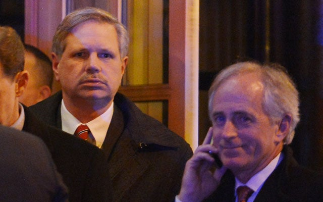 John Hoeven (L), R-ND, and Senator Bob Corker (R), R-TN (MANDEL NGAN/AFP/Getty Images/Newscom)