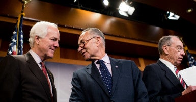 Sens. John Cornyn, R-Texas, Chuck Schumer, R-N.Y., and Chuck Grassley, R-Iowa, are among the members who reached a bipartisan deal to reform federal prison sentencing. (Photo: Bill Clark/CQ Roll Call/Newscom)