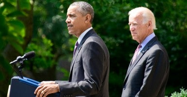 President Obama, accompanied by Vice President Joseph Biden, announces that Cuba and the United States will be reopening embassies in each other's capitals. (Photo: Sipa USA/Newscom)