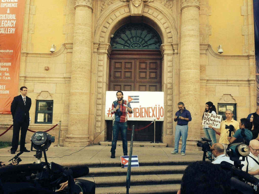 Activist Orlando Pardo Lazo spoke at the rally in Miami. (Courtesy photo)