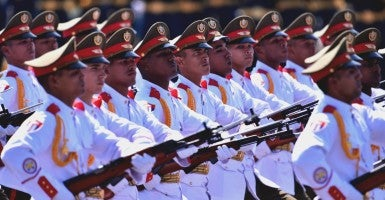 The Cuban phalanx attends a parade in Beijing, capital of China, Sept. 3, 2015.  (Photo: Li Ga Xinhua News Agency/Newscom)