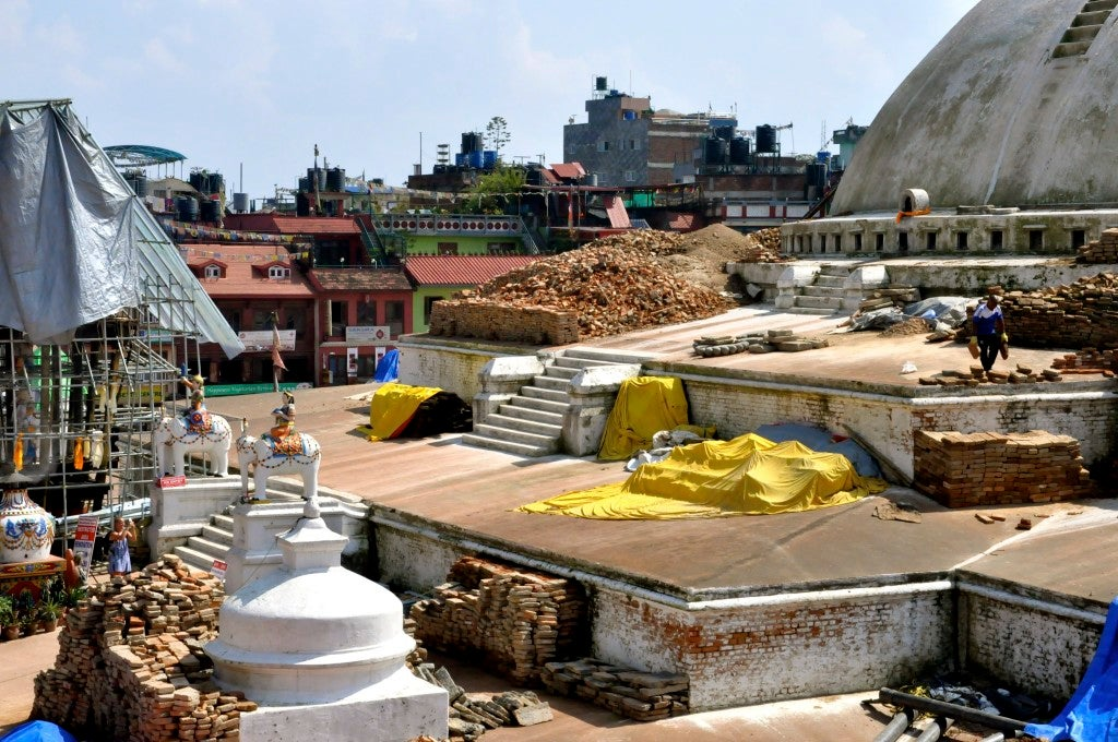 Many of Kathmandu's historic monuments damaged in the earthquake are being repaired. (Photo: Nolan Peterson/The Daily Signal)