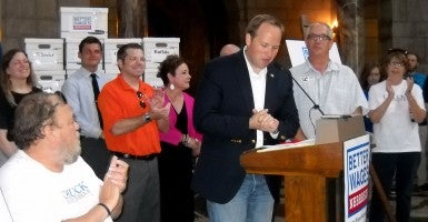 Omaha Sen. Jeremy Nordquist thanks supporters for gathering 135,000 signatures in seven weeks. (Photo: Nebraska Watchdog Photo)