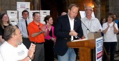 Omaha Sen. Jeremy Nordquist thanks supporters for gathering 135,000 signatures in seven weeks. (Photo: Nebraska Watchdog Photo)