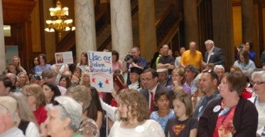 Protest at a meeting of the Indiana Education Roundtable, April 21 2014. Photo: Hoosiers Against Common Core