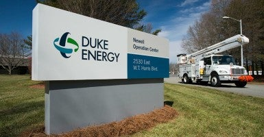 Duke Energy Newell Operation Center facility sign and bucket trucks. (Photo: Duke Energy / Flickr / CC BY-NC-ND 2.0)