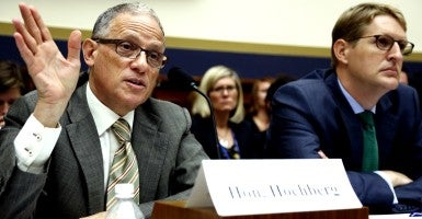 U.S. Export-Import Bank President Fred Hochberg and Export-Import Bank Deputy Inspector General Michael McCarthy testify before a House Financial Services Committee hearing on the Export-Import Bank's reauthorization, on Capitol Hill (Photo: Jonathan Ernst/Reuters/Newscom