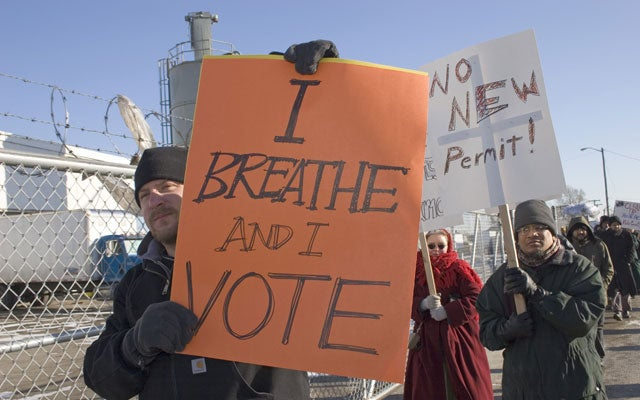 protest was organized by the Hamtramck Environmental Action Team and supported by the Sierra Club.  (Jim West/ZUMA Press/Newscom)