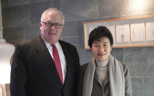 Dr. Edwin Feulner with President Park Geun-hye, the Republic of Korea.