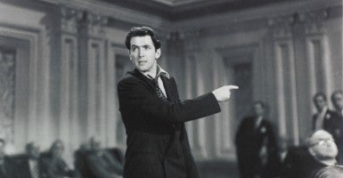 "In an iconic scene from the classic film ""Mr. Smith Goes to Washington,"" Jimmy Stewart as a freshman senator employs the filibuster to block and influence a vote. (Photo: Columbia Pictures/ Album/Newscom)"