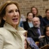 Newly declared 2016 Republican presidential contender Carly Fiorina, the former Hewlett-Packard CEO, speaks to citizens attending a small lecture room at Morningside College in Sioux City, Iowa, Tuesday, April 21.