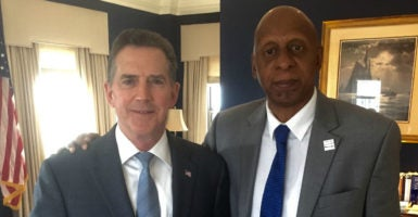 "Cuban dissident leader Guillermo ""Coco"" Fariñas meets last year with Heritage Foundation President Jim DeMint.  Attempting to raise awareness of the Cuban government's brutality with a hunger strike, Fariñas  says he is willing to give his life for the sake of Cuba's future. (Photo: Ana Quintana)"