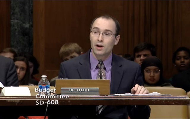 Dr. Salim Furth at a Senate Budget Committee Hearing.