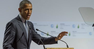 "At the World Climate Change Conference 2015 in Paris, France, President Barack Obama said an international climate deal carries ""the hope of all humanity."" (Photo: Jonathan Raa/NurPhoto/Sipa USA/Newscom)"