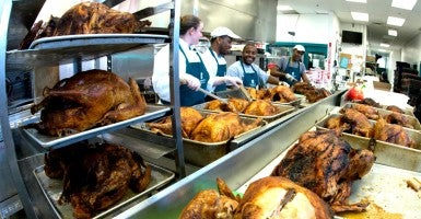 Nov. 25, 2013, Pine Street Boston, Massachusetts, United States: The kitchen staff at Pine Street Inn, New England's largest homeless shelter is preparing over 80 turkeys for Thanksgiving dinner to be served to 1600 guests on Thanksgiving day. (Photo: Rick Friedman/Polaris/Newscom)