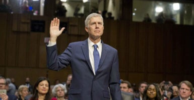 Judge Neil Gorsuch is sworn in to testify before the Senate Judiciary Committee on his nomination as Associate Justice of the U.S. Supreme Court, Monday, March 20, 2017. (Photo: Ron Sachs/SIPA/Newscom)