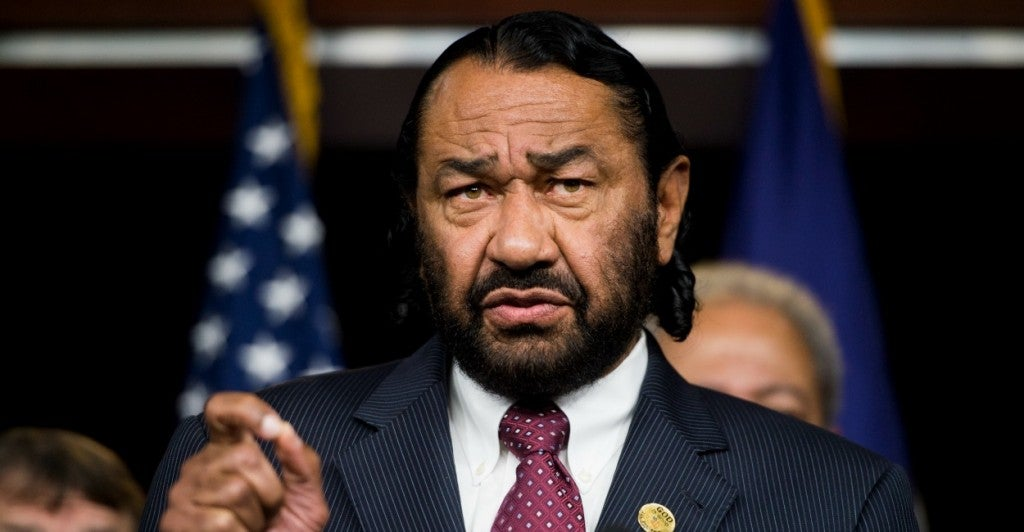 "Rep. Al Green, D-Texas, calls out Republicans on the House Financial Services Committee for being ""part-time freedom fighters."" (Photo: Bill Clark/Newscom)"
