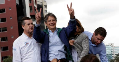Ecuador's presidential election has resulted in a runoff between former Vice President Lenín Moreno and center-right opposition leader Guillermo Lasso, pictured above. (Photo: Henry Romero/Reuters /Newscom)
