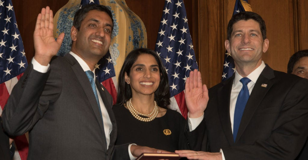 Rep. Ro Khanna, D-Calif., receives the House oath of office from Speaker Paul Ryan, R-Wisc., during a swearing-in ceremony earlier this year. (Photo: Jeff Malet Photography/Newscom)