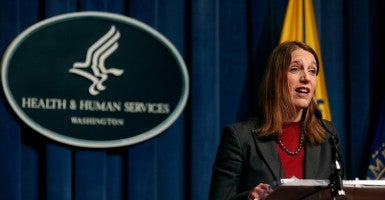 Secretary of Health and Human Services Sylvia Mathews Burwell speaks during a press conference on Open Enrollment in Washington February 18, 2015.  (Photo: Yuri Gripas/Reuters/Newscom)