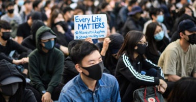 Hong Kong protesters support Uighurs