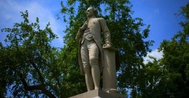 A statue of Alexander Hamilton stands in New York's Central Park. (Photo: MIKE SEGAR/REUTERS/Newscom / Edited: Daily Signal)