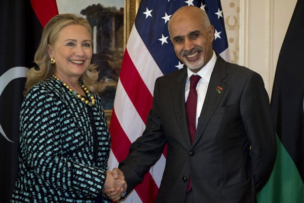 Secretary of State Hillary Clinton meets with Libyan President Mohamed Magarief on September 24.