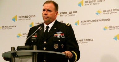 Lt. Gen. Ben Hodges, commander of U.S. Army Europe, spoke to reporters in Kyiv, Ukraine on Tuesday. (Photo: Nolan Peterson/The Daily Signal)