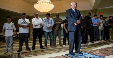 M.J. Khan, president of the Islamic Society of Greater Houston, leads prayers after being selected to do so by fellow congregants at River Oaks Islamic Center. (Photo: Scott Dalton for The Daily Signal)