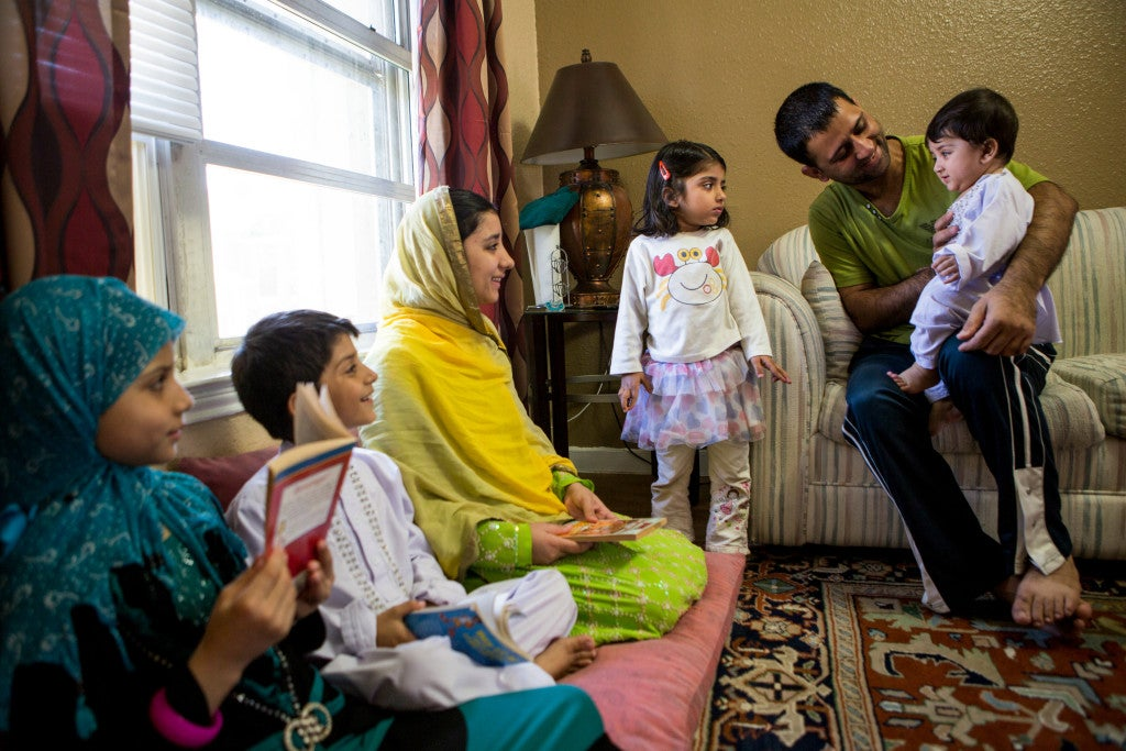 Masehullah Sahil and his five children are adjusting to life in Houston after he arrived recently from a carer in Afghanistan translating for the U.S. armed services. (Photo: Scott Dalton)