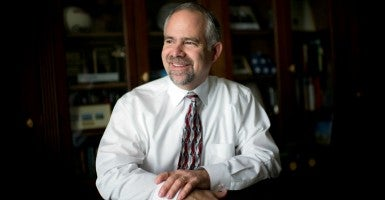 Rep. Tim Huelskamp, R-Kan., poses for a picture in his Longworth office, February 13, 2015. (Photo By Tom Williams/CQ Roll Call)
