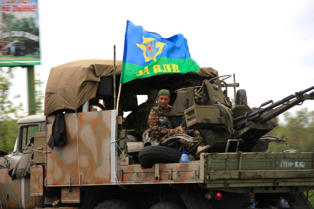 Ukrainian troops on the move outside Slavyansk. (Photo: Nolan Peterson/The Daily Signal)